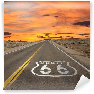 Självhäftande Fototapet Route 66 Pavement Sign Sunrise Mojaveöknen