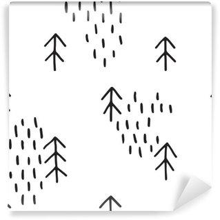 Självhäftande Fototapet Scandinavian mönster med granar. Seamless vinter mönster, räcker utdraget i svart bläck. Perfekt för inslagning eller tryckning på tyg. Seamless minimal jul mönster.