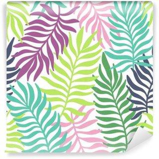 Självhäftande Fototapet Seamless exotiskt mönster med palmblad
