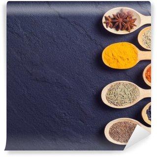 Självhäftande Fototapet Sortiment av indiska kryddor