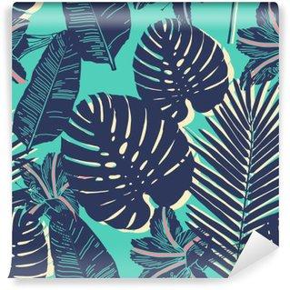Självhäftande Fototapet Tropiska Palm seamless blad blå mönster