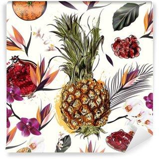 Självhäftande Fototapet Vacker sömlös vektor mönster med tropiska växter orkidéer en