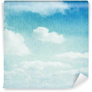 Självhäftande Fototapet Vattenfärg moln och himmel bakgrund