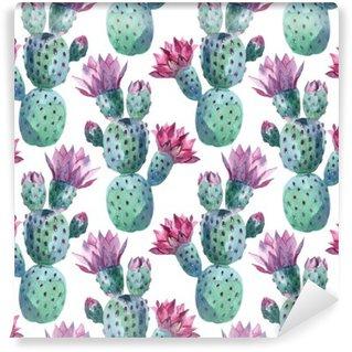 Självhäftande Fototapet Vattenfärg seamless kaktus mönster