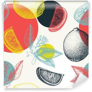 Självhäftande Fototapet Vector Seamless bläck handritad lime frukt, blommor, skiva och lämnar skiss. Vintage citrus bakgrund i pastellfärger