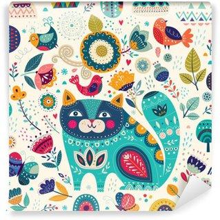 Självhäftande Fototapet Vektor färgrik illustration med vackra katt, fjärilar, fåglar och blommor