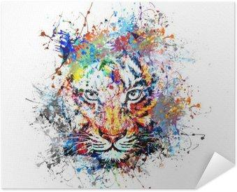 Självhäftande Poster Яркий фон с тигром