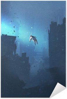 Självhäftande Poster Astronaut flytande i övergivna staden, mystiska utrymme, illustration målning