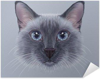 Självhäftande Poster Belysande Porträtt av en thailändsk Cat. Söt blått pekar traditionell Siamese katt.