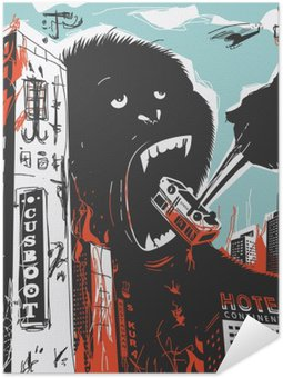 Självhäftande Poster Big gorilla förstör Ort