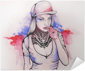 Självhäftande Poster Flicka i en mössa och tatueringar