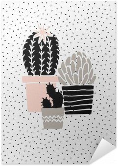 Självhäftande Poster Hand Drawn Cactus affisch