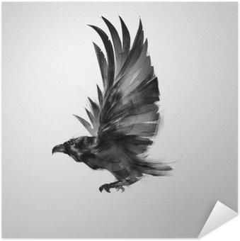 Självhäftande Poster Isolerade grafiskt flygande fågel svart kråka