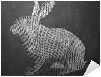 Självhäftande Poster Kanin. Bondgårdsdjur. Tappning graverad illustration på ren bakgrund.