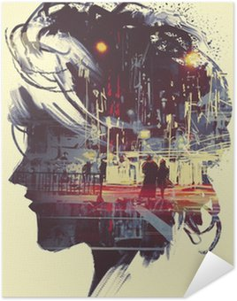Självhäftande Poster painting of double exposure concept with lady portrait silhouette and couple walking in night city
