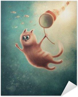 Självhäftande Poster Röd katt fånga fiskar