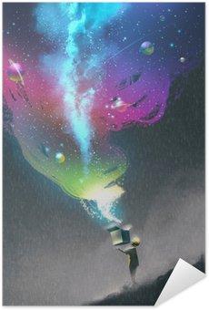 Självhäftande Poster Ungen öppna en fantasi låda med färgglada ljus och fantastiska utrymme, illustration målning