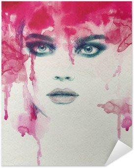 Självhäftande Poster Vacker kvinna. akvarell illustration