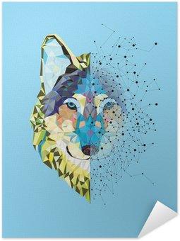 Självhäftande Poster Wolf huvudet i geometriskt mönster med Star Line vektor