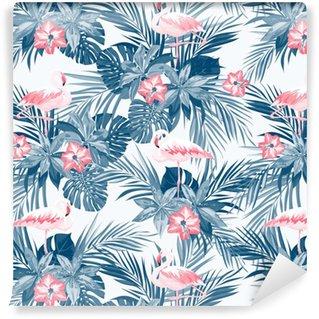 Indigo tropisk sommar seamless med flamingo fåglar och exotiska blommor