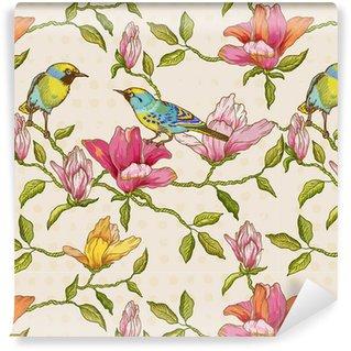Vintage sömlös bakgrund - blommor och fåglar