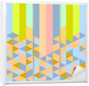 Skåpdekor Abstrakt retro geometriska pastell art deco-stil mönster