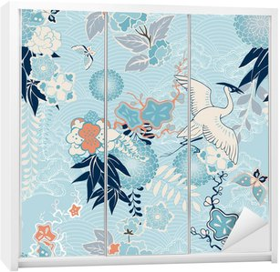 Skåpdekor Kimono bakgrund med kran och blommor