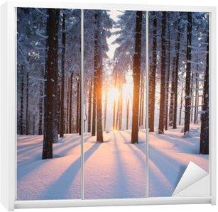 Skåpdekor Solnedgång i trä i vintern