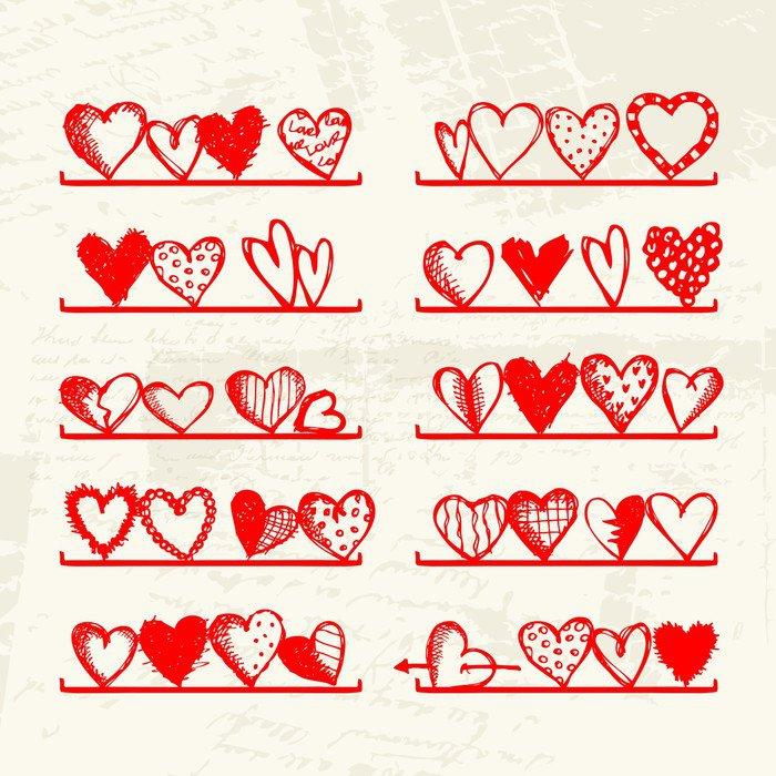 Fototapeta Vinylowa Śmieszne serca na półkach, rysunek szkic do projektowania - Święta międzynarodowe
