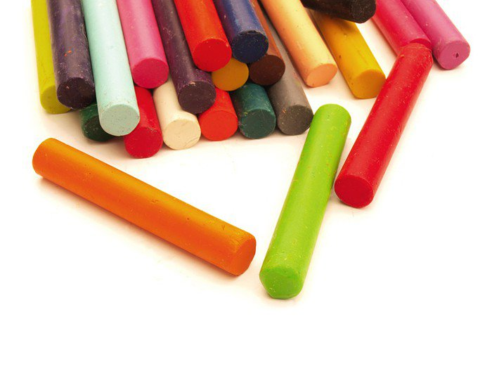 Stack of colourful crayons