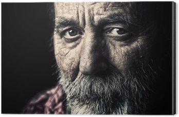 Stampa su Alluminio (Dibond) Molto vecchio senzatetto uomo ritratto anziano