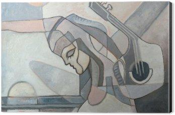 Stampa su Alluminio (Dibond) Pittura astratta con la donna e la chitarra