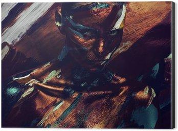 Stampa su Alluminio (Dibond) Ritratto di donna in vernici colorate scure