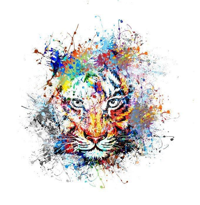 Sticker - Pixerstick яркий фон с тигром - Science & Nature