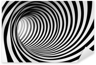 Sticker Pixerstick 3d abstrait en spirale en noir et blanc