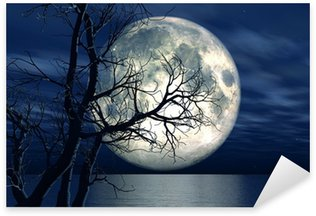 Sticker - Pixerstick 3D landscape background with moon and tree