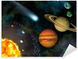 Sticker - Pixerstick 3D Solar System Wallpaper contains the Sun and nine planets.