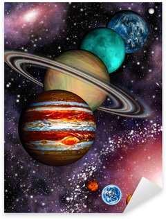 Sticker - Pixerstick 9 planets of the Solar System, asteroid belt and spiral galaxy.