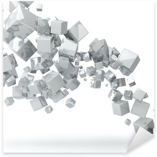 Sticker - Pixerstick Abstract 3D glossy white cubes background.