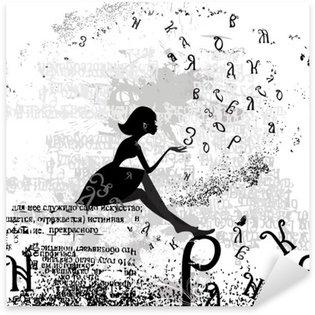 Sticker - Pixerstick abstract design with a girl grunge text