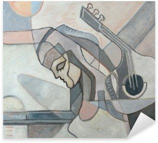 Pixerstick Sticker Abstract schilderij met Vrouw en Gitaar