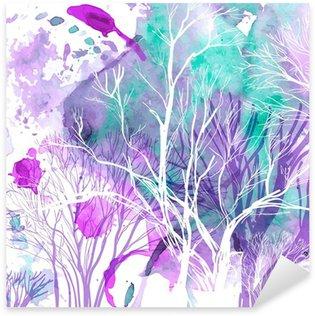 Pixerstick Sticker Abstract silhouet van bomen