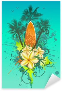 Abstract tropical background with a surfboard, palms and flowers Sticker - Pixerstick