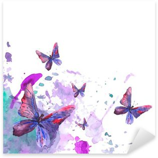 Abstract watercolor background with butterflies Sticker - Pixerstick