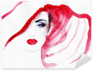abstract watercolor .woman portrait Sticker - Pixerstick
