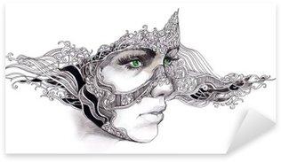 Sticker Pixerstick Abstract woman face