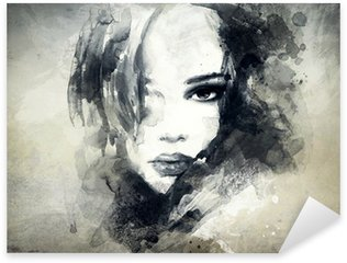 abstract woman portrait Sticker - Pixerstick