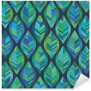 Pixerstick Sticker Abstracte achtergrond van groene blad. vector patroon