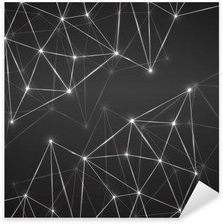 Pixerstick Sticker Abstracte geometrische achtergrond met het aansluiten van stippen en lijnen. Moderne technologie concept. veelhoekige structuur