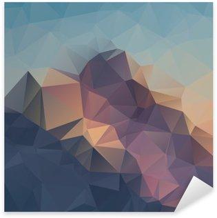 Pixerstick Sticker Abstracte geometrische kleurrijke achtergrond. Bergtoppen. Compositie met driehoeken geometrische vormen. veelhoek landschap.